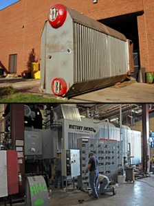 UofL replaced old, inefficient boilers under the project. Top: Removal of an old boiler in July 2010. Bottom: The new boiler was installed in September 2010.
